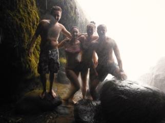 Behind the Pulhapanzak Waterfalls!